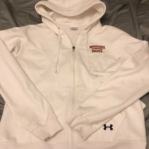 White Under Armour UMD Bulldogs zip-up sweatshirt